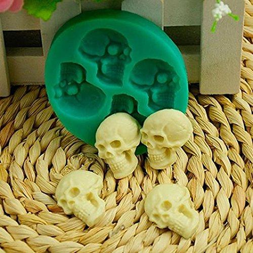 3D Skull Head Silicone Fondant Cake Mold Chocolate Halloween Party DIY Tools -