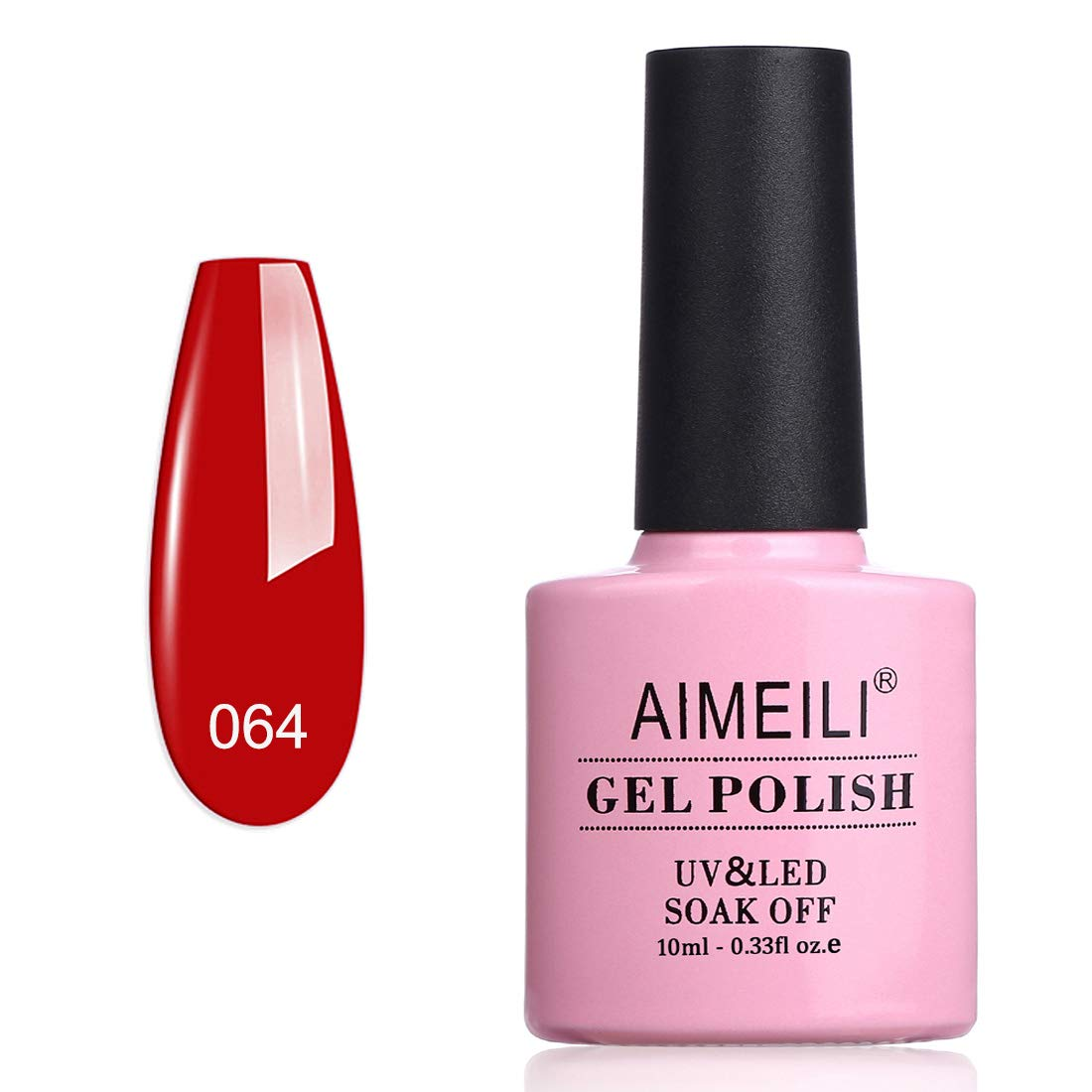 AIMEILI Soak Off UV LED Gel Nail Polish - Pillar Box Red (064) 10ml