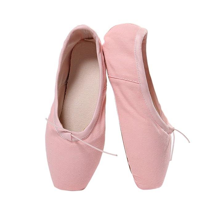 f9d51e57390ca DoGeek Chaussure de Ballet de Pointe Satin Chaussure Danse avec Ruban Satin
