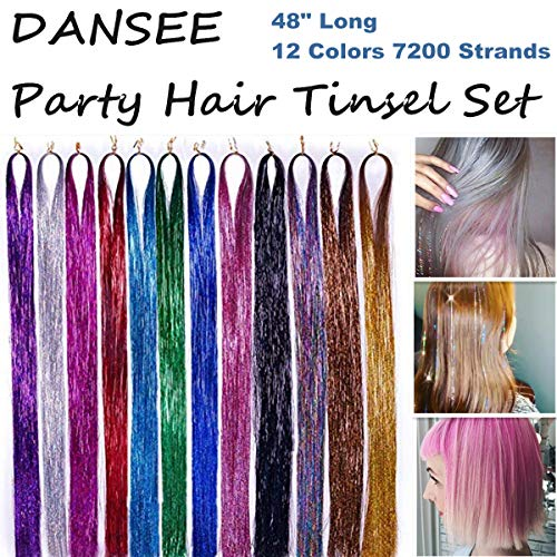 "DANSEE 48"" Hair Tinsel Extensions 7200+ Strands 12 Colors Set Sparkling & Shiny Fairy Hair Dazzle Glitter Extensions Heat Resistant Synthetic Multi-Colors Party Highlights Bling Hairpiece Kit"