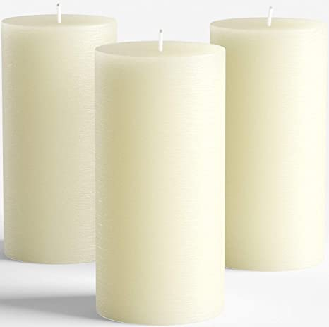 Amazon Com Melt Candle Company Set Of 3 Ivory Unscented Pillar Candles 3 X 6 For Weddings Restaurant Home Decoration Spa Church Smokeless Home Kitchen