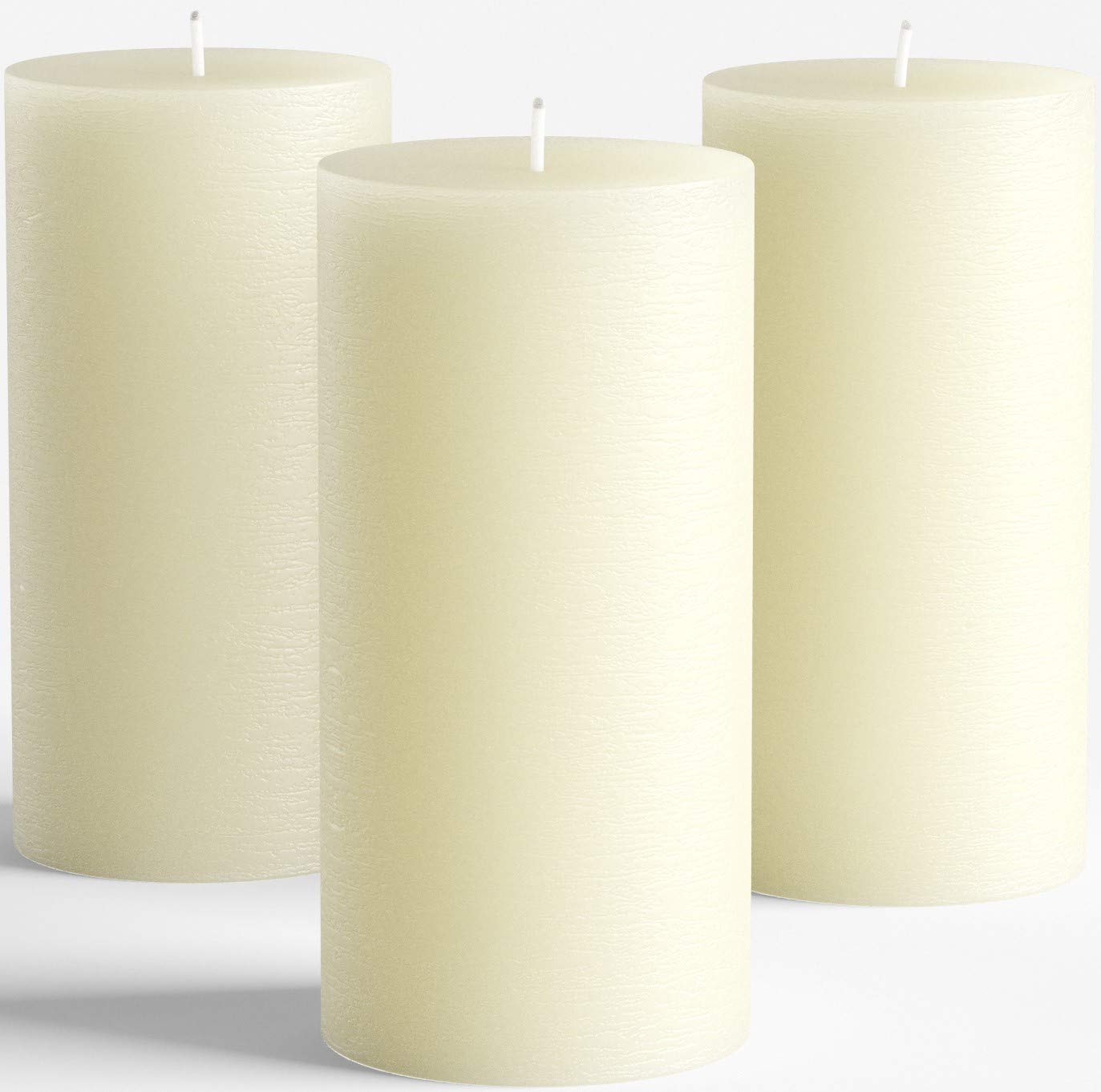 """Melt Candle Company Set of 3 Ivory Unscented Pillar Candles 3"""" x 6"""" for Weddings Restaurant Home Decoration Spa Church Smokeless"""