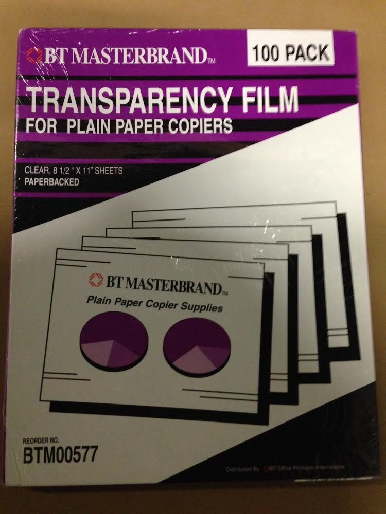 BT Masterbrand BTM00577 Transparency Film for Plain Paper Copiers, Clear, Paperbacked, 100 Sheets