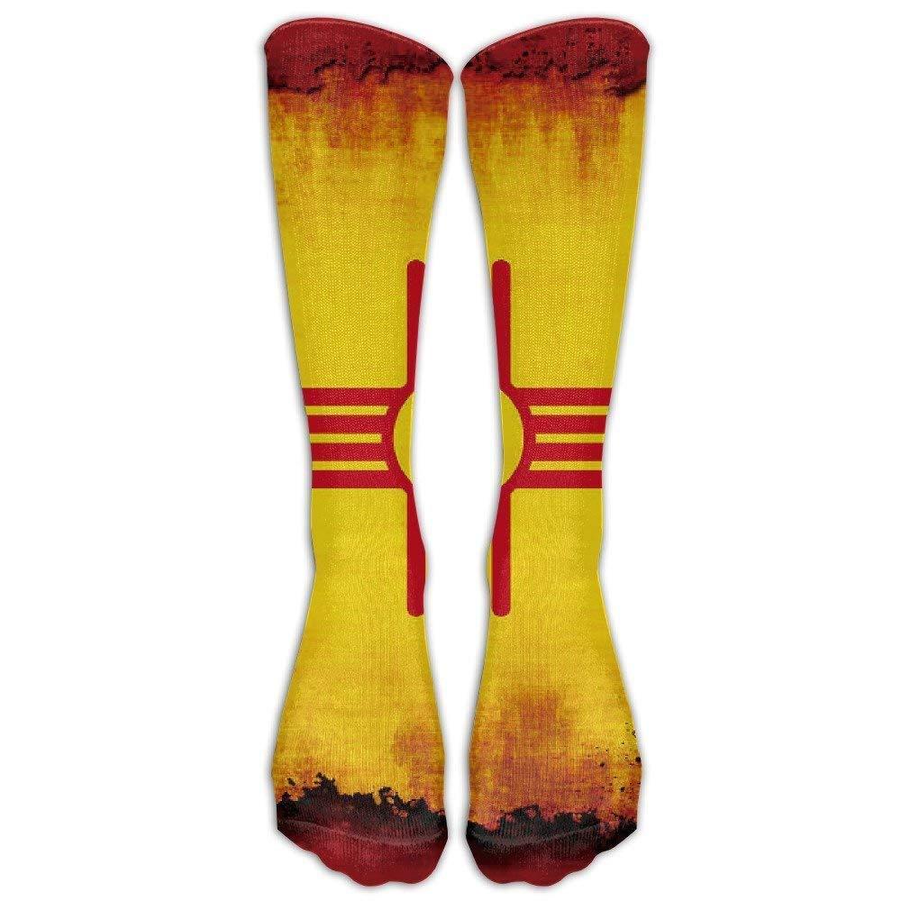 Ejdkdo Unisex New Mexico Flag Grunge Knee High Long Running Socks Sports Tube Stockings for Running,Football,Soccer Comfortable