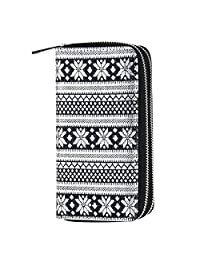 HAWEE Big Size Long Wallet for Woman Dual Zippered Clutch Purse Premium PU for Smart Phone/Card/Coin/Cash, Black-Silver Snowflake
