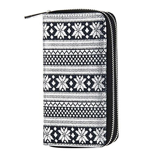 (HAWEE Double Zipper Wallet for Woman Clutch Purse with Cell Phone Pocket for Smart Phone/Card/Coin/Cash, Black-SIlver Snowflake)