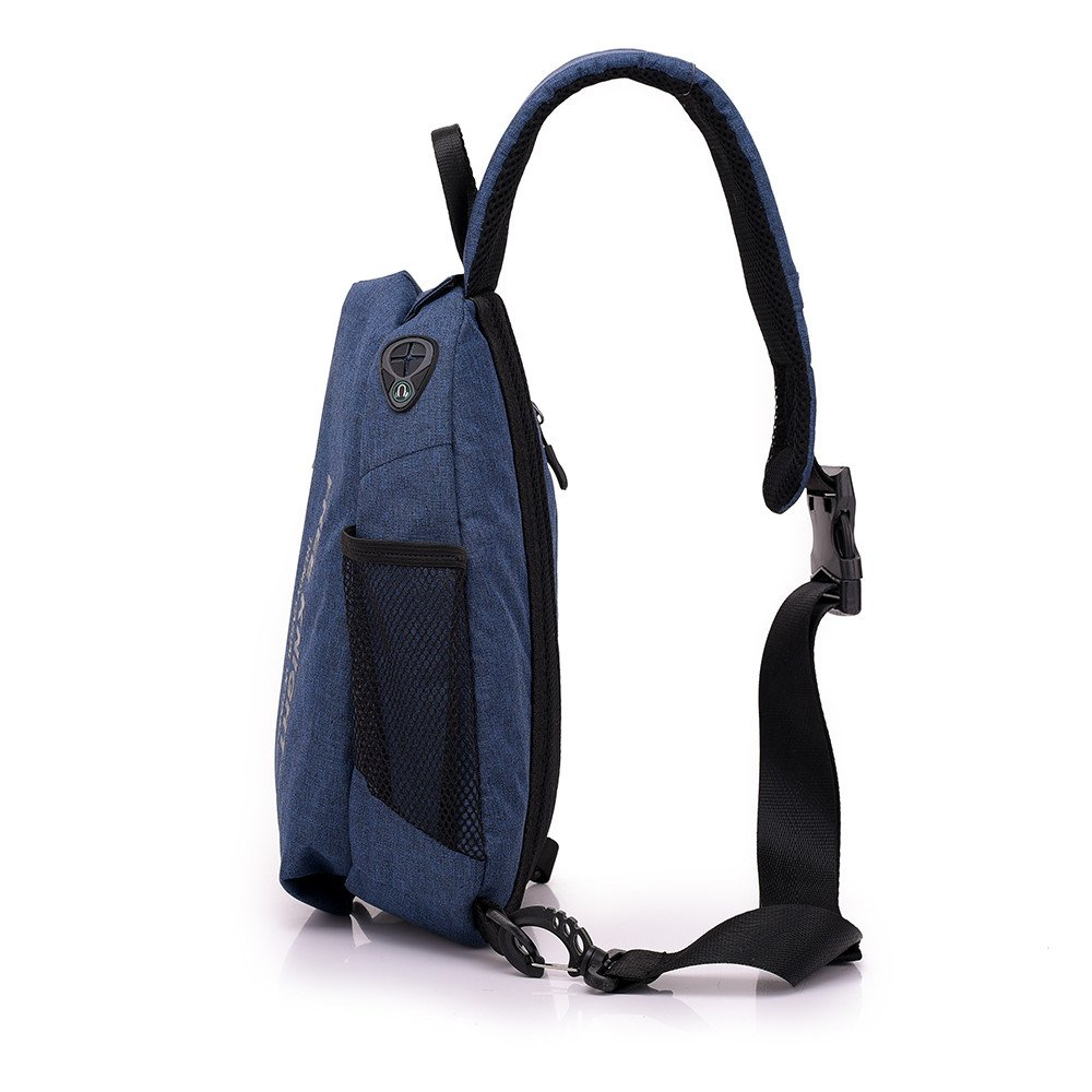 Sling Chest Shoulder Bag with USB Charging Port,Sling Purse Crossbody Bags for Bicycle Sport Hiking Travel Camping - Blue by Sammid (Image #7)