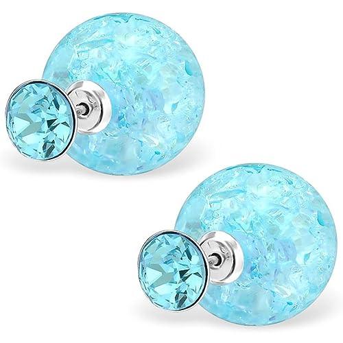 EYS JEWELRY® Damen-Ohrringe Doppel-Perlen Kugeln 6 x 14 mm Glitzer-Kristalle 925 Sterling Silber aquamarin-blau im Schmuck-Etui Ohrstecker Stecker