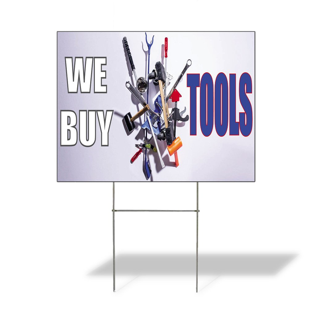 We Buy Tools #2 Outdoor Lawn Decoration Corrugated Plastic Yard Sign - 12inx18in, Free Stakes