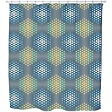 Uneekee Ice Holy Hexagons Shower Curtain: Large Waterproof Luxurious Bathroom Design Woven Fabric