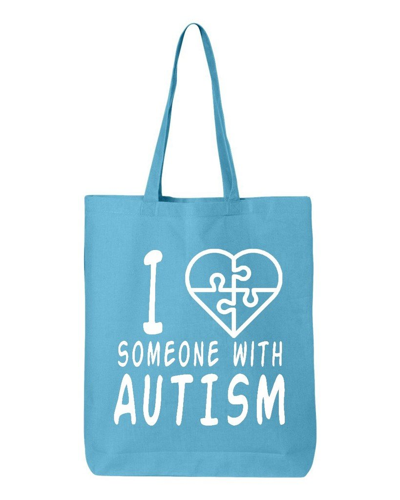 shop4ever I Love Someone With AutismホワイトコットントートバッグAutism Awareness再利用可能なショッピングバッグ6 oz Eco 12 oz ブルー WSE_1215_LvAutsmWht_TB_QTBG_Turquoise_3 B06XS75168 ターコイズ, 寒河江市 d41e52a7
