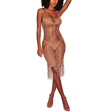 731be8f119 Remxi Women Sexy Sleeveless Hollow Out Tassel Swimwear Bikini Cover Ups Knitted  Crochet Beach Maxi Dress