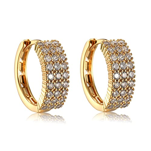 6ab71aa86 Image Unavailable. Image not available for. Color: Cubic Zirconia Small  Hoop Earrings 18k Gold ...