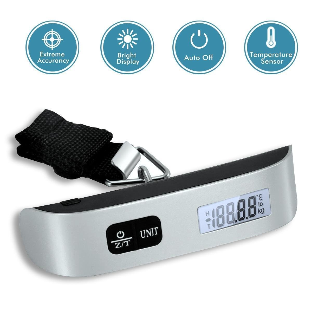 Dr.Meter Mini 110lb/50kg LCD Display Balance Digital luggage Hanging Scale Hook Luggage Scale Rubber Paint Technology Temperature Sensor