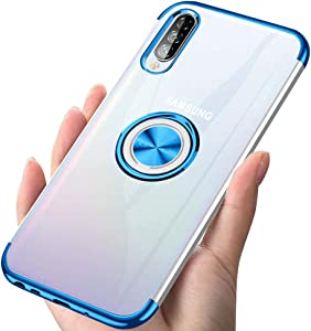 Samsung Galaxy A50/A30S/A50S Case 6.4 Inch Clear Shockproof Soft TPU Electrolated Frame Bumper Protection Cover Rotating Finger Ring Phone Case for Samsung Galaxy A50/A30S/A50S - Blue