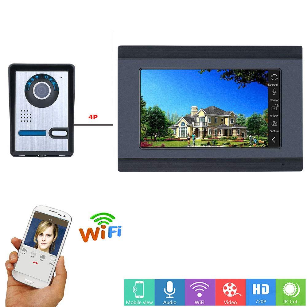 Jackeylove Video Doorbell Smart Wireless Home WiFi Smart Visual Cat-Eye Überwachungskamera 7 Inch HD Smart Doorbell Display Mit IR Night Vision Features, Geeignet Für Familienvillen