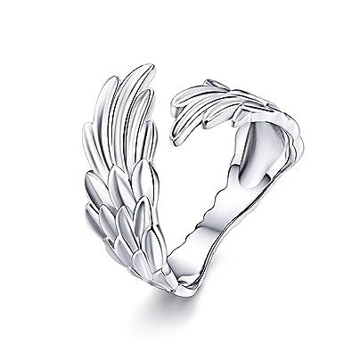 LaMenars - Anillos de plata de ley 925 con alas de esperanza ...