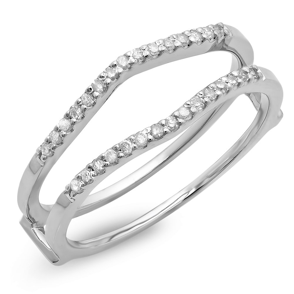 Dazzlingrock Collection 0.18 Carat (ctw) 10K Round Diamond Ladies Wedding Enhancer Double Ring, White Gold, Size 6.5
