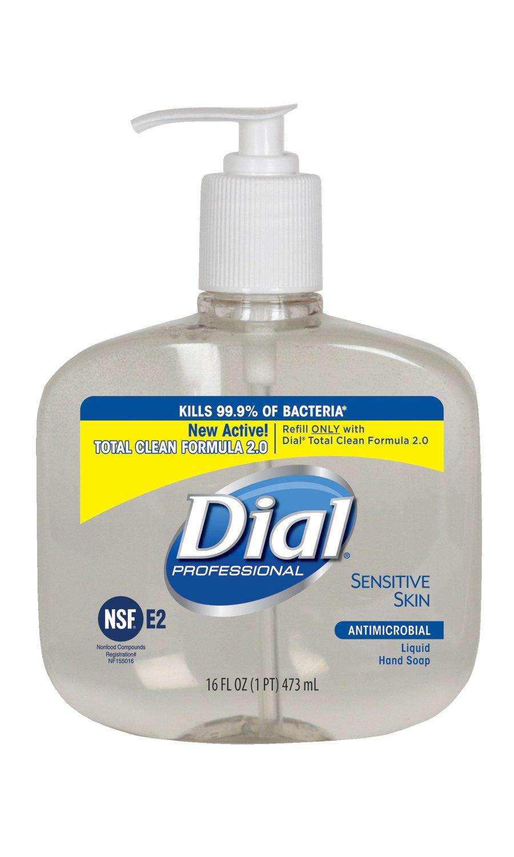 Dial Professional 80784 Liquid Dial Antimicrobial Soap for Sensitive Skin Pump 16 Oz. (Case of 12)