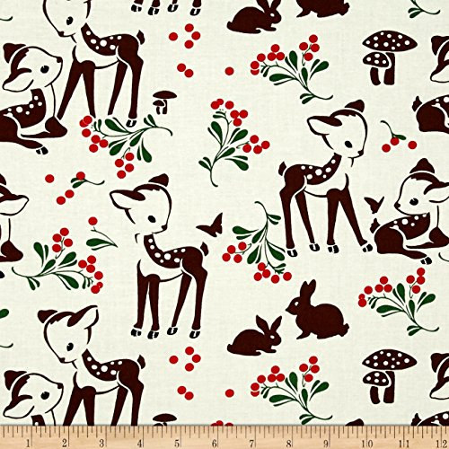 Michael Miller Holiday Fawn Memories Cream Fabric By The Yard - Michael Miller Cream