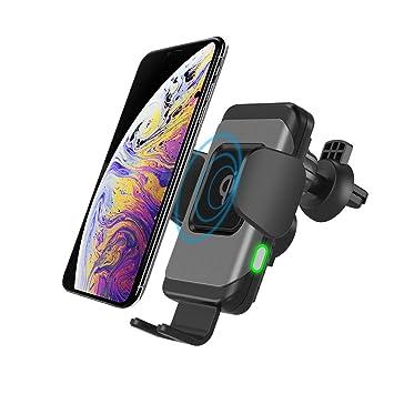 Cargador Inalámbrico Coche Carga Rápida, Qi Cargador Rápido Wireless Car Charger Soporte Móvil,10W para Galaxy S9/S9+/S8/S8+,7.5W para iPhone XS/XS ...