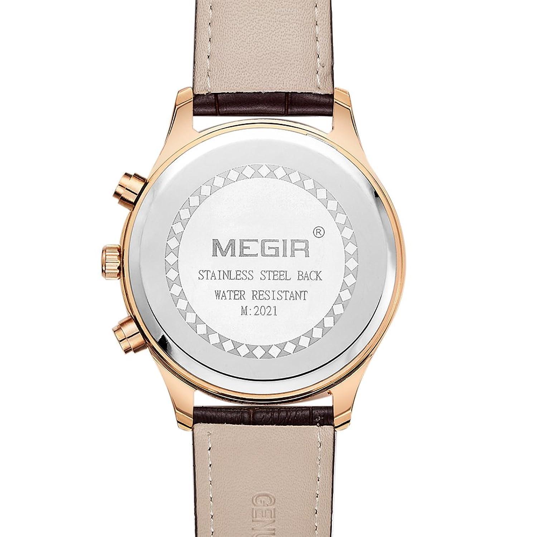 Amazon.com: MEGIR Mens Sport Watches Casual Brown Leather Strap Chronograph Date Quartz Wrist Watch relojes hombre: Watches