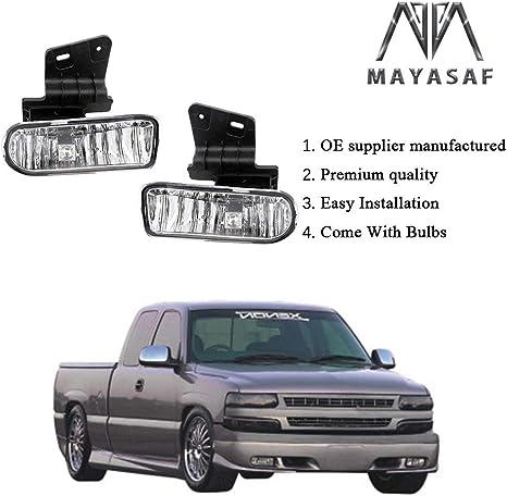 2000-2006 Suburban MAYASAF Amber Lens Chevrolet Fog Light Pair of Bumper Fog Lamp Assembly Fit 1999-02 Chevrolet Silverado 1500//2500//3500 2000-2006 Tahoe Exclude Z71