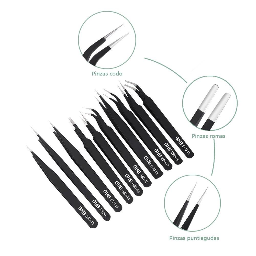 GHB 10PCS Pinzas de Precision Anti-Est/áticas de Acero Inoxidable Pinzas Electronica