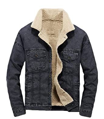 best value latest trends of 2019 harmonious colors XTX Men's Winter Denim Single Breasted Pockets Linen Fleece ...