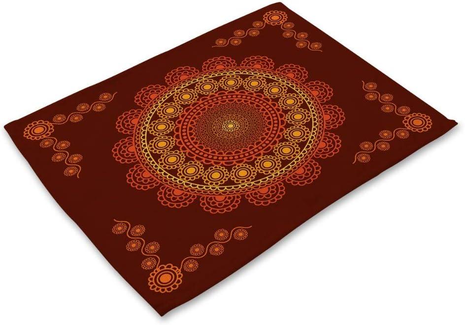 Tovagliette Set 6 Lino E Cotone Tessuto Miscelato Indiano Stile Vintage Lavabile Creativo V 6 Tipo di Mandala Modelli Stampati Stoffa per Tutta La Famiglia