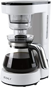Coffee Maker with Glass Carafe, BOSALY Drip Coffee Machine Reusable Filter, Keep Warm, 5 Cups, White