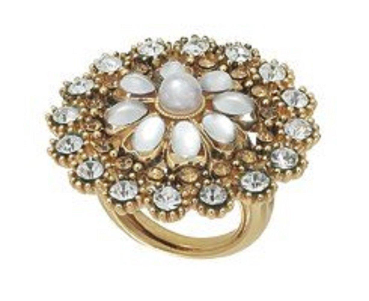 Vintage Treasures Flower Adjustable Ring with Crystals