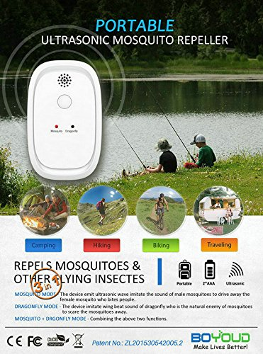 TBI Pro Portable Ultrasonic Mosquito Repellent - Odorless Non-Toxic Pest Control Repeller w/Dragonfly Mode Indoor Outdoor