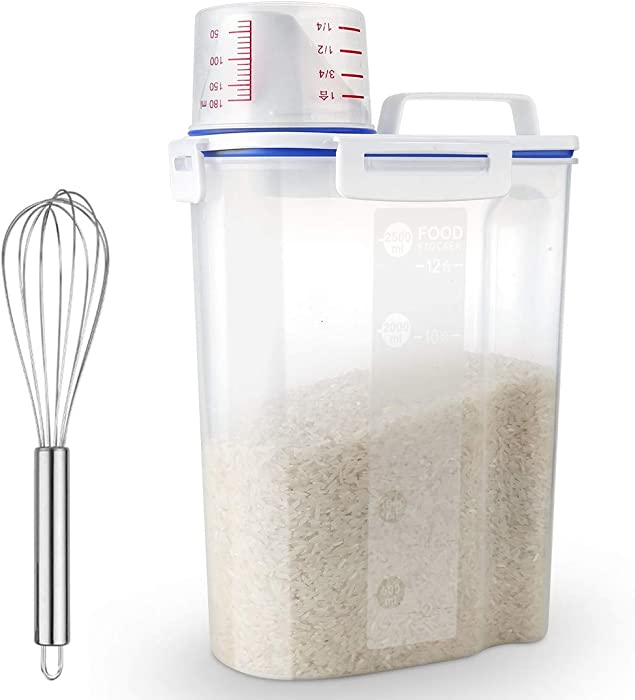 Uppetly Rice Airtight Dry Food Storage Containers, BPA Free Plastic Storage Bin Dispenser with Pourable Spout, Measuring cup for Cereal, Flour and Baking Supplies, Include a Stainless Steel Whisk