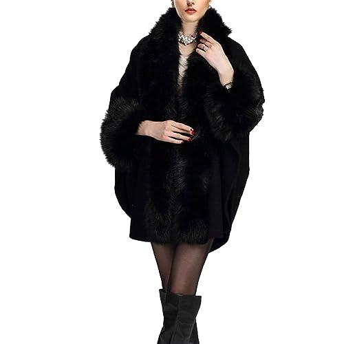 KAXIDY Lujoso Piel de imitación Mantón Capa Poncho Capes Abrigo para Mujeres