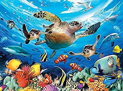 Sea Jigsaw Puzzles 1000 Pieces Underwater Turtle Sea Life for Adults Large Puzzle Game Artwork for Adults Teens