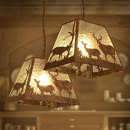 Lámparas de araña Retro Galss Chandelier Colgante Lámparas de techo Vintage Industrial LOFT Style Animales creativos