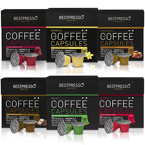 Bestpresso Coffee for Nespresso OriginalLine Machine 120 pods Certified Genuine Espresso Variety Pack mix Flavored and Dark roast, Pods Compatible with Nespresso OriginalLine by Bestpresso