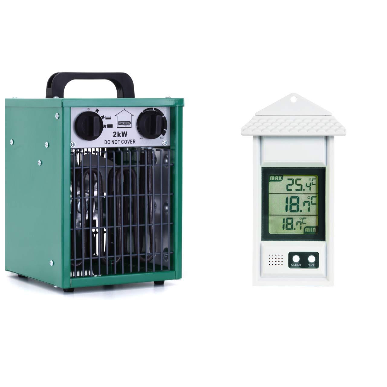 Simplicity Heater Set 2kW Greenhouse fan heater + Digital max/min thermometer