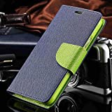 Thinkzy Artificial Leather Flip Cover Case for Vivo Y71i (Blue, Green)
