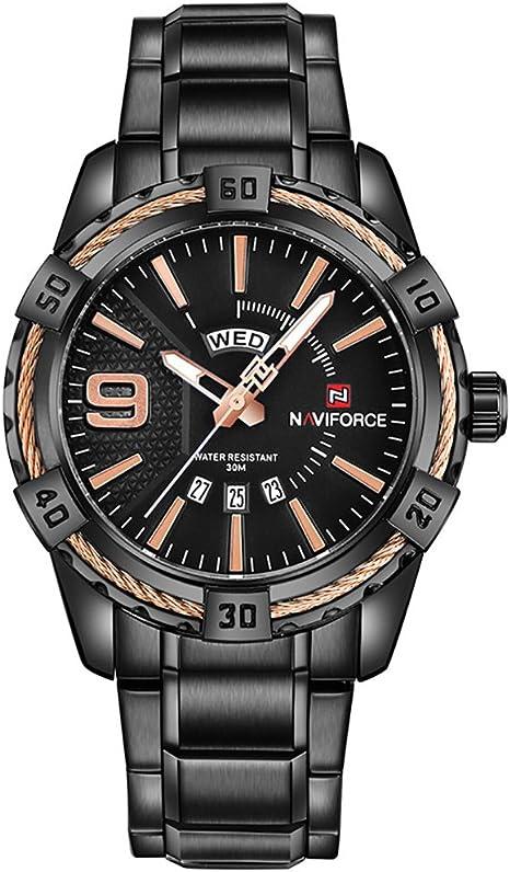 Kenon - Reloj digital deportivo de acero inoxidable, resistente al agua, LED, militar, deportivo, cuarzo, con muti-Functions (negro)