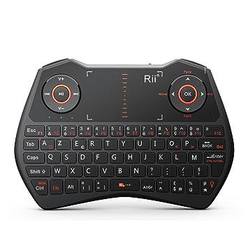 Rii Mini i28C One Wireless (AZERTY) – Mini teclado francés inalámbrico con ratón táctil, retroiluminado: Amazon.es: Electrónica