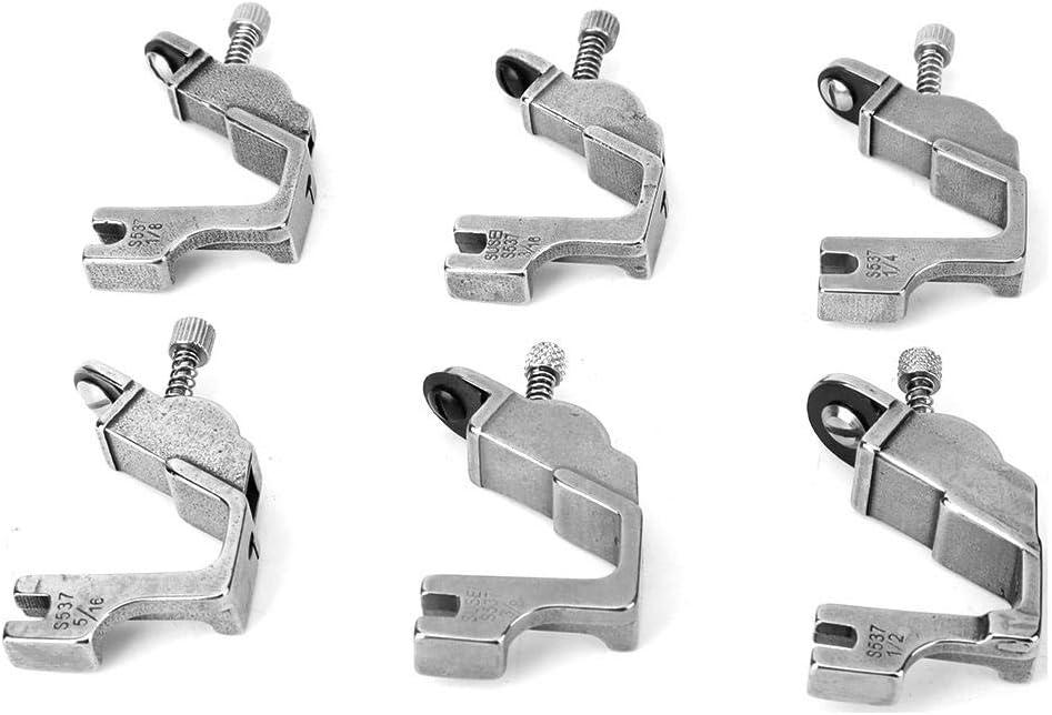 Sheens 6Pcs Todos los Accesorios de la máquina de Coser Industrial de prensatelas elástico de Acero con 1/8 3/16 1/4 5/16 3/8 1/2 prensatelas