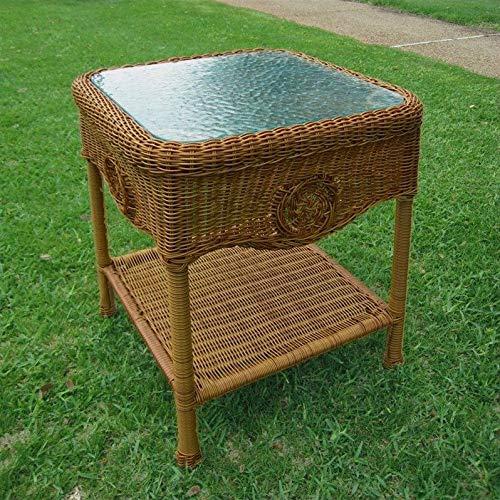 International Caravan Furniture Piece Wicker Glass Top Side Table