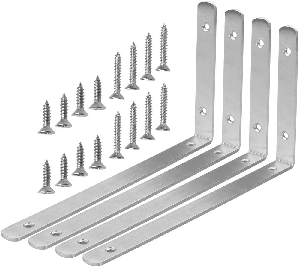 sourcing map 4pcs Angle Bracket Stainless Steel 150x110mm Corner Brace Fastener L Shaped Right Angle Brackets Corner Protector Shelf Support with Screws for Furniture