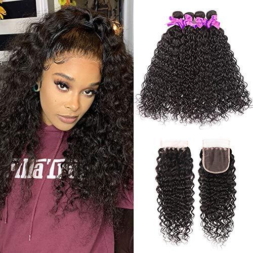 Miss CARA Brazilian Virgin Hair Water Wave 4 Bundles with Closure Free Part (20 22 24 26+18) Human Hair Bundles Weave Ocean Wave Bundles Lace Closure Natural Color