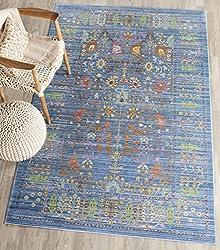 Safavieh Valenciaica Collection VAL108M Blue Multi Polyester Runner Variation Family: 4673-P