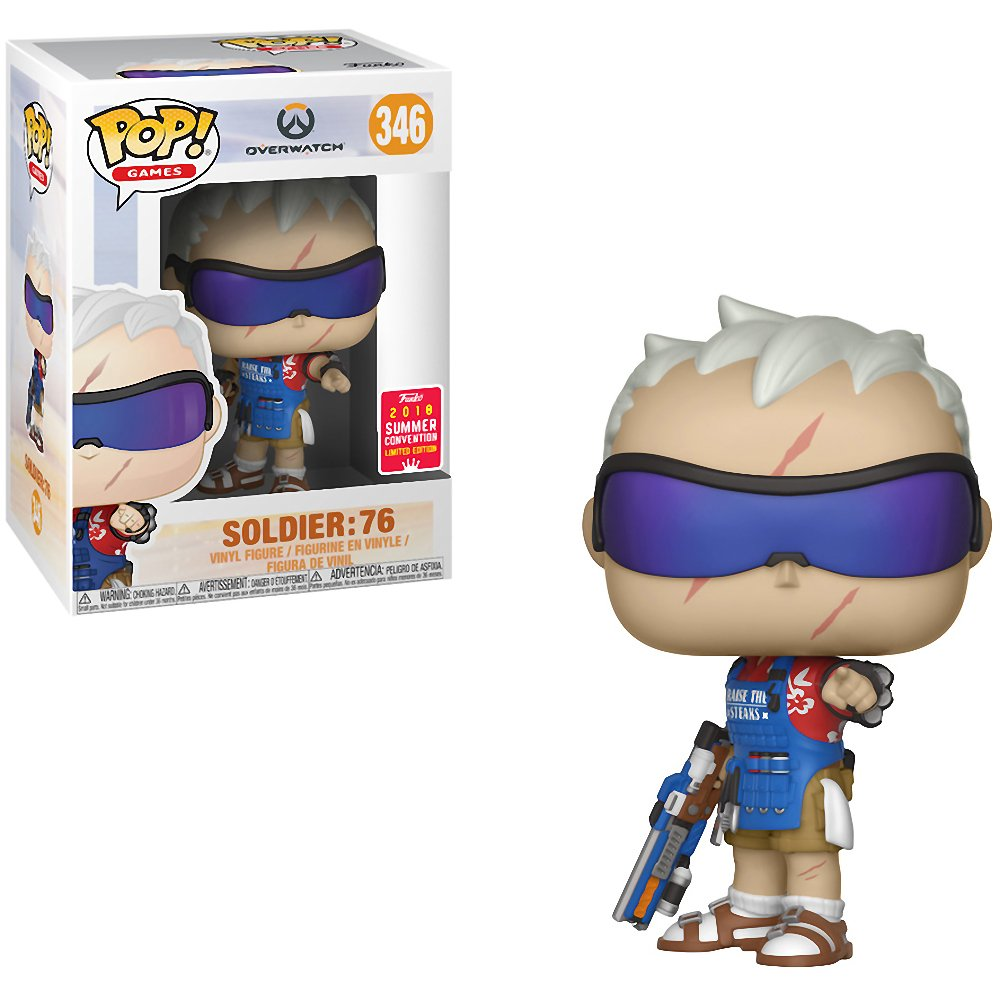 Games Vinyl Figure #346 // 30894 2018 Summer Con Exclusive Funko Soldier: 76 1 Video Games Themed Trading Card Bundle : Overwatch x POP BCC9420I8