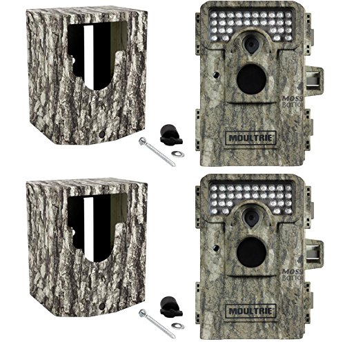 (2) MOULTRIE Game Spy 8MP M-880 Low Glow Infrared Trail Cameras  Security Boxes