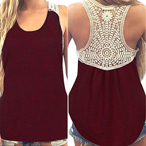 Tanhangguan Women Summer Lace Vest Loose Fit Sleeveless T-Shirt Cami Workout Casual Tank Tops and Blouse Clothing Clearance (Wine Red, 3XL) - Polo Cotton Tank Top